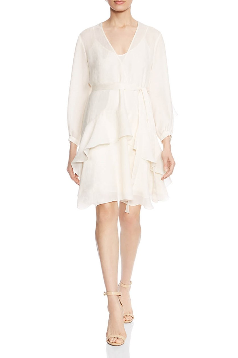 Women's Ruffled Textured Dress, Cream
