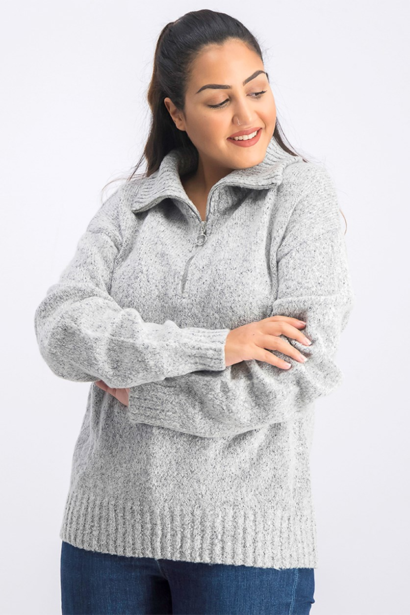 Women's Half Zipper Sweater, Grey
