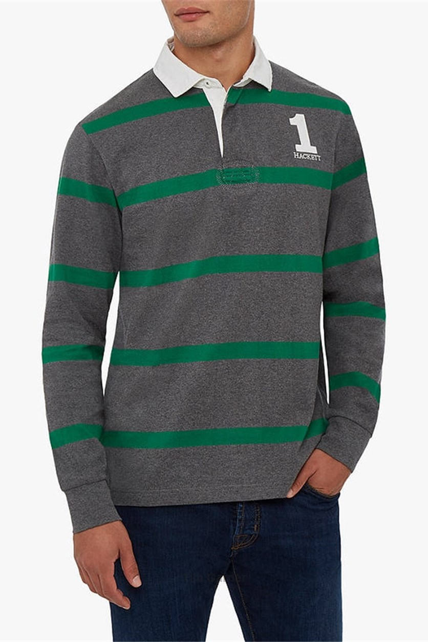 Men's Inch Stripe Rugby Polo Shirt, Grey/Green