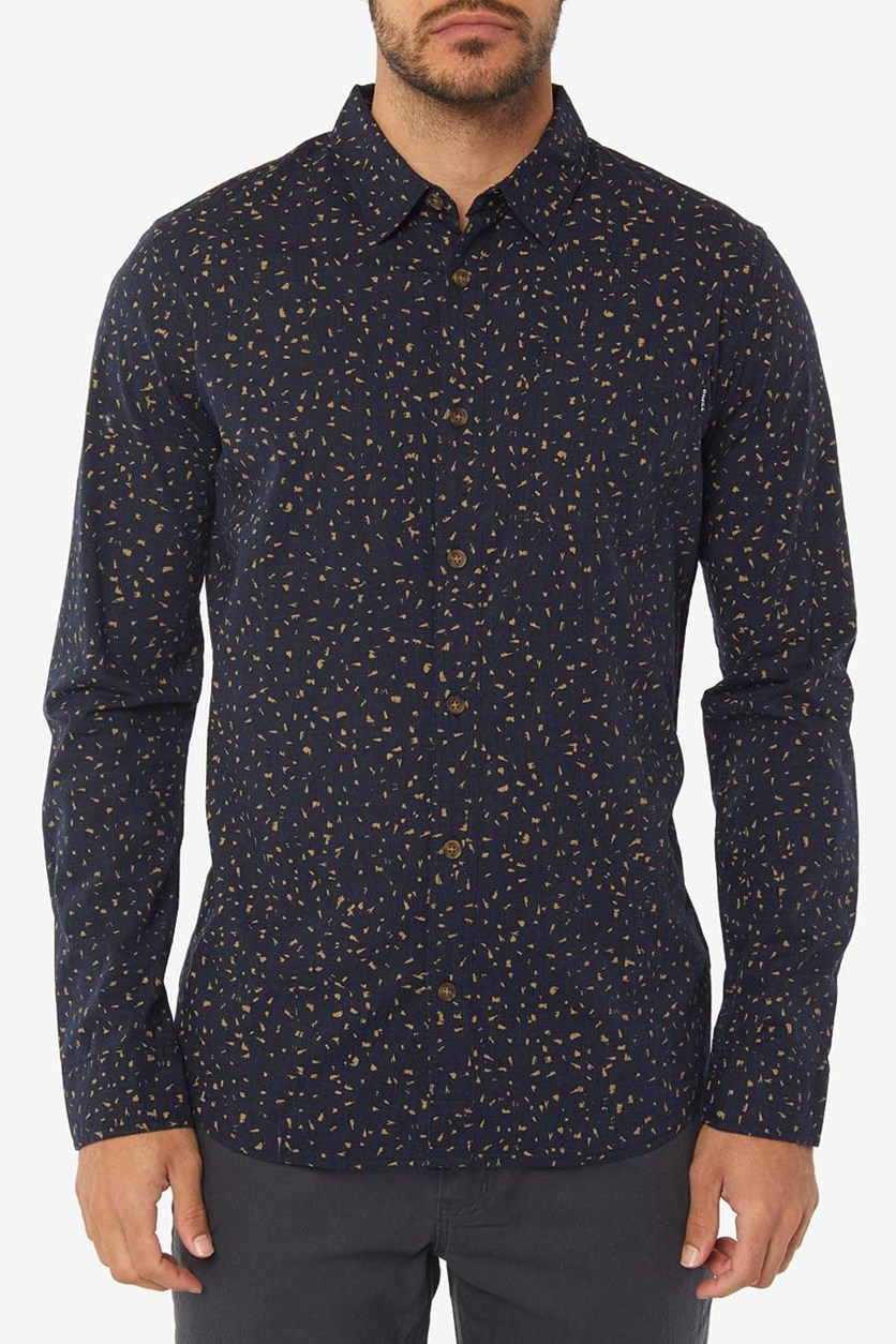 Men's Phases Printed Long Sleeve Shirt, Navy