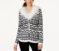 Pretty Rebellious Junior's Faux Fur-Collar Cardigan Sweater, White/Black