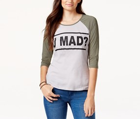 Pretty Rebellious Women's Mad Graphic Baseball T-Shirt, Grey/Green