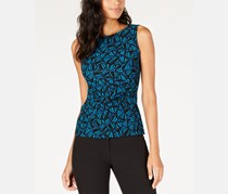 Women's Printed Pleated Tank Top, Juniper