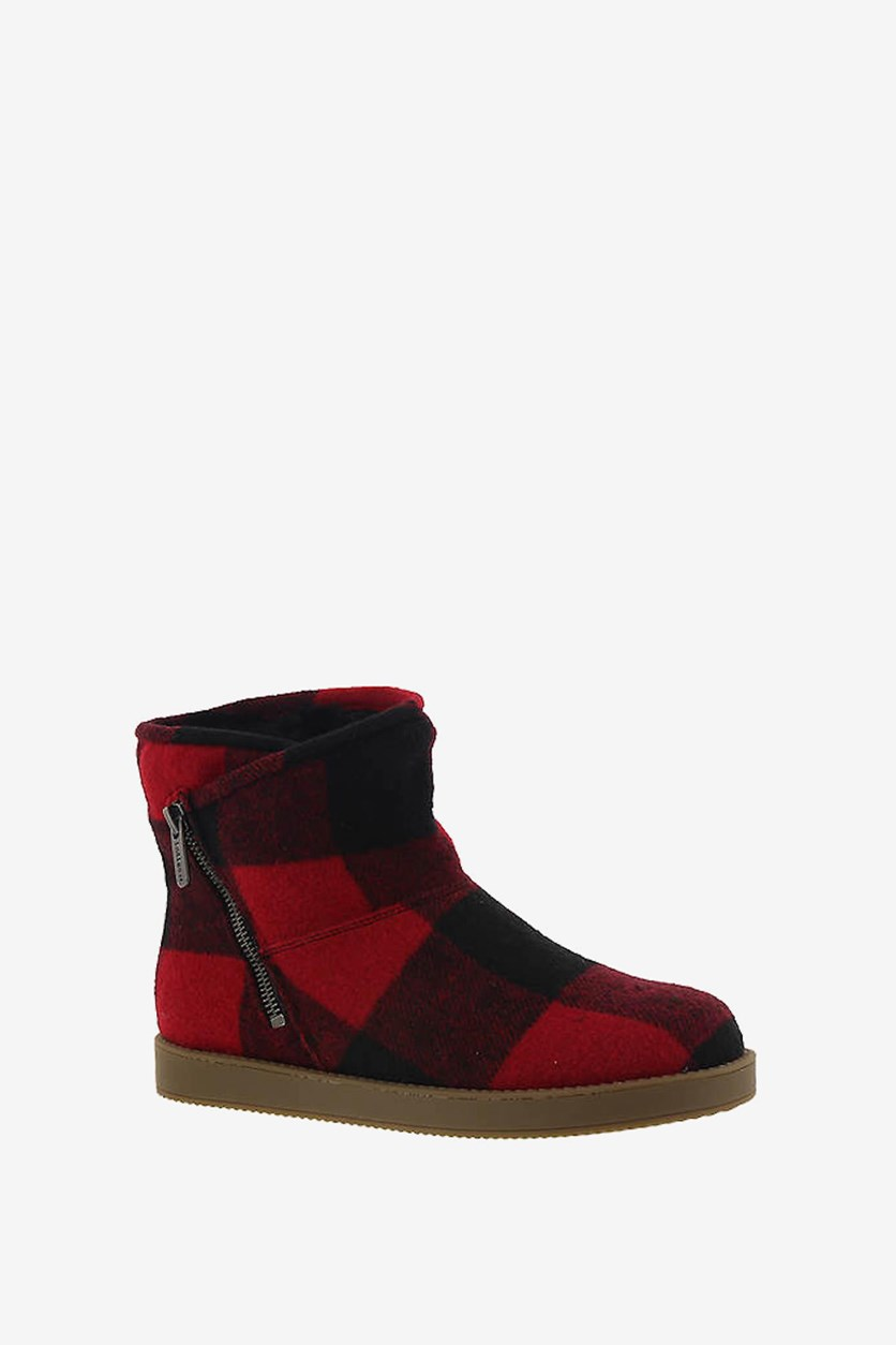Womens Ashley Faux Fur Closed Toe Ankle Fashion Boots, Red/Black