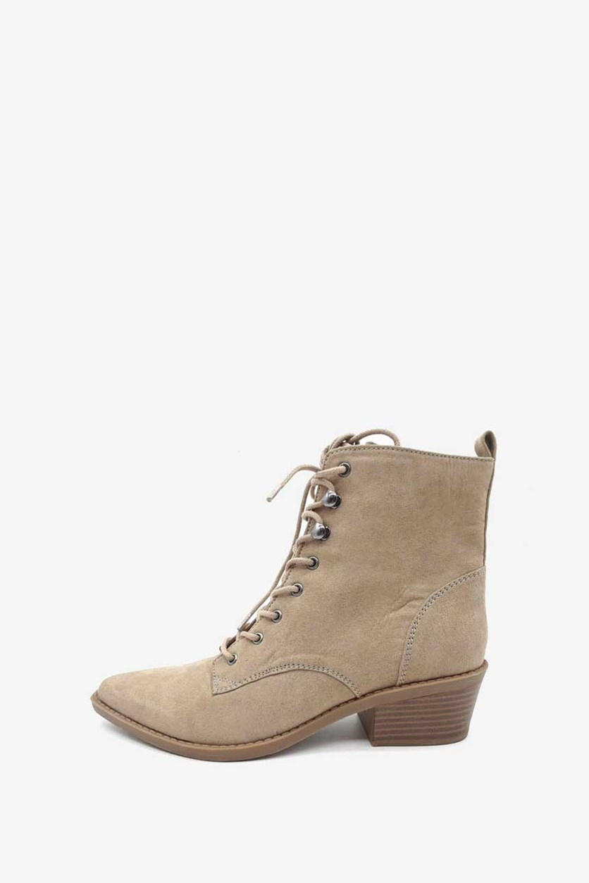 Women Yarine Pointed Toe Ankle Booties, Taupe