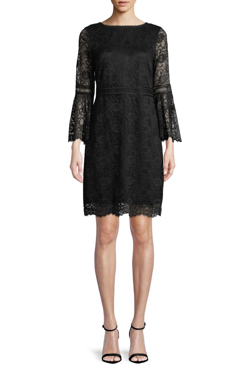 Women's Floral Bell Sleeve Dress, Black