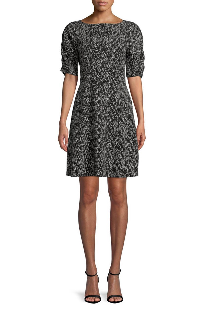 Women's Fit-and-Flare Dress, Black/White