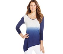 Dkny Women's Asymmetrical-Hem Dip-Dyed Top, Blue/White