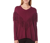 DKNY Jeans Women's Fringe Accented Dolman Pullover Sweater, Purple
