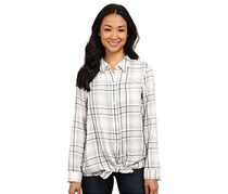 DKNY Jeans Women's Flannel Plaid Shirt, White