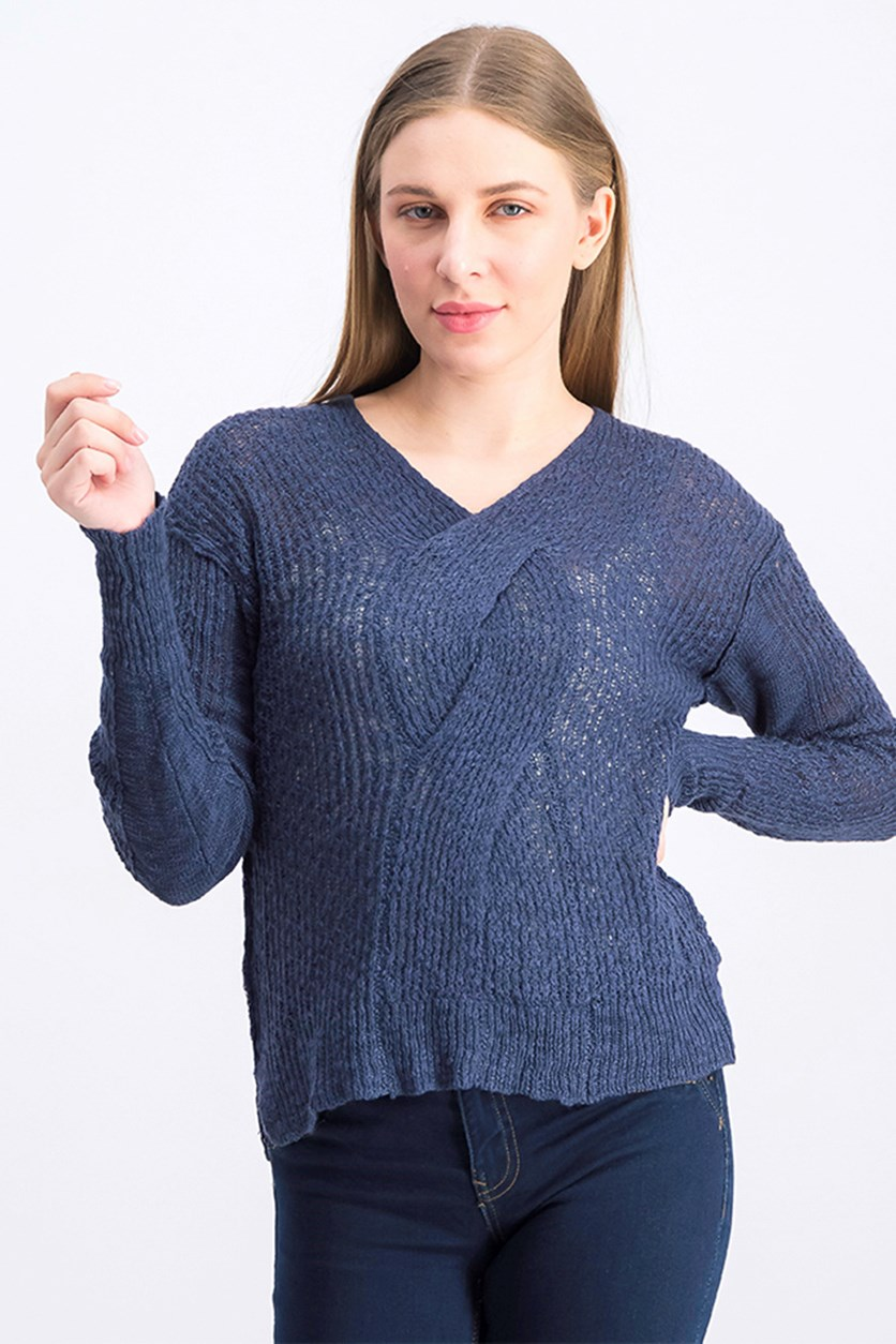 Women's V-Neckline Sweater, Navy