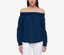 Tommy Hilfiger Cotton Off-The-Shoulder Top, Indigo
