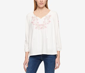 Tommy Hilfiger Embroidered Peasant Top, Ivory
