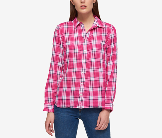 Tommy Hilfiger Cotton Plaid Shirt, Pink