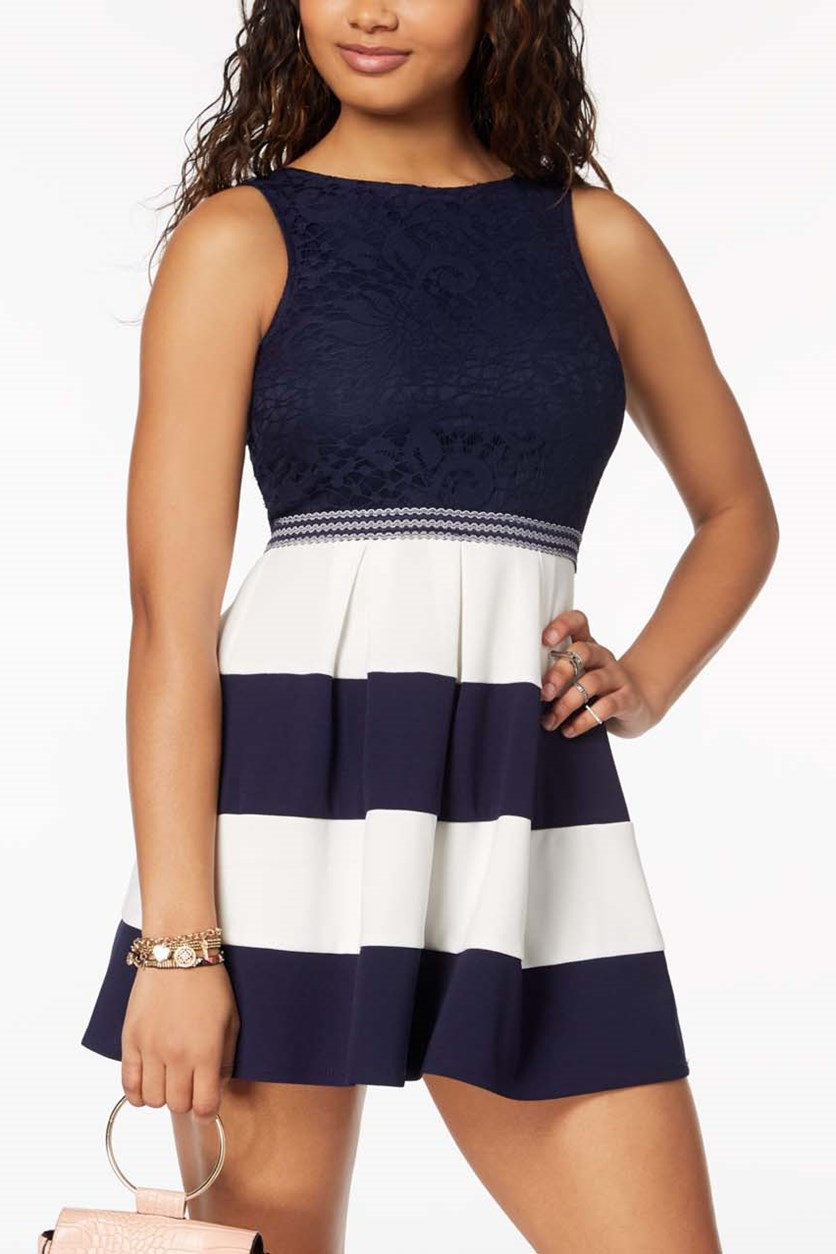 Juniors' Lace & Striped Fit & Flare Dress, Navy/White