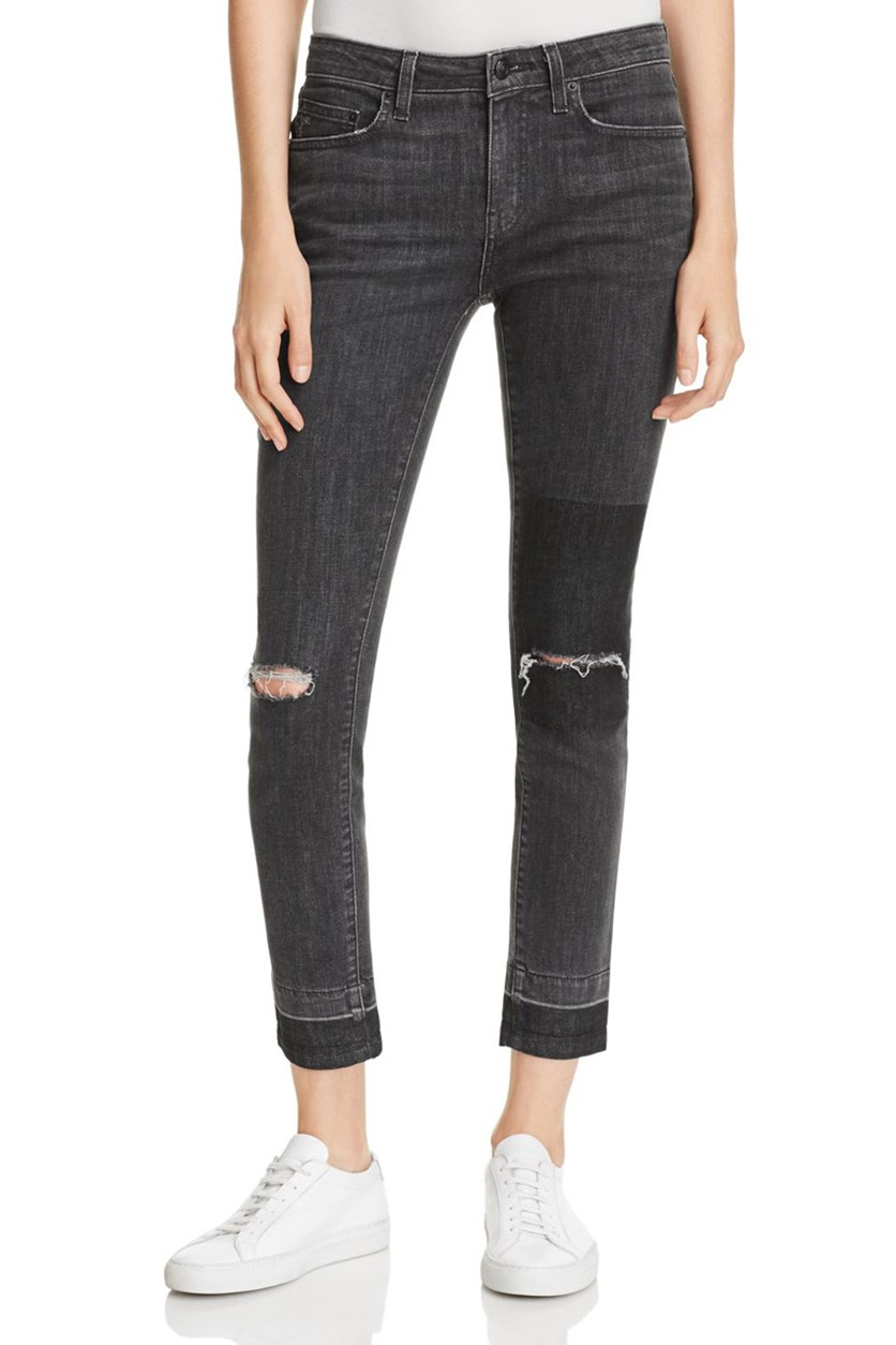 Women's Skinny Distressed Jeans, Black