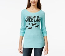 Hybrid Women's Shine Neverland Graphic Thermal Tunic Top, Aqua