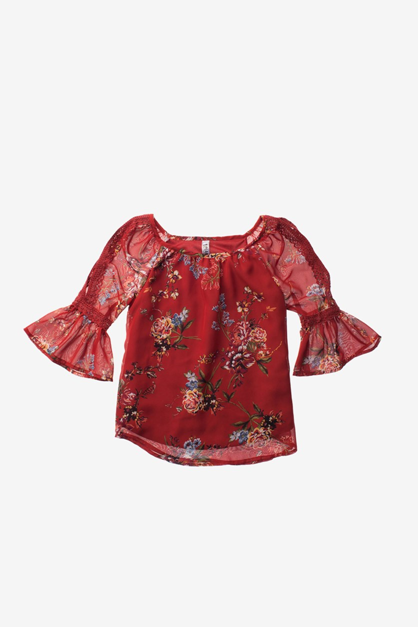 Cold Shoulder Floral Lace Top, Rust Combo