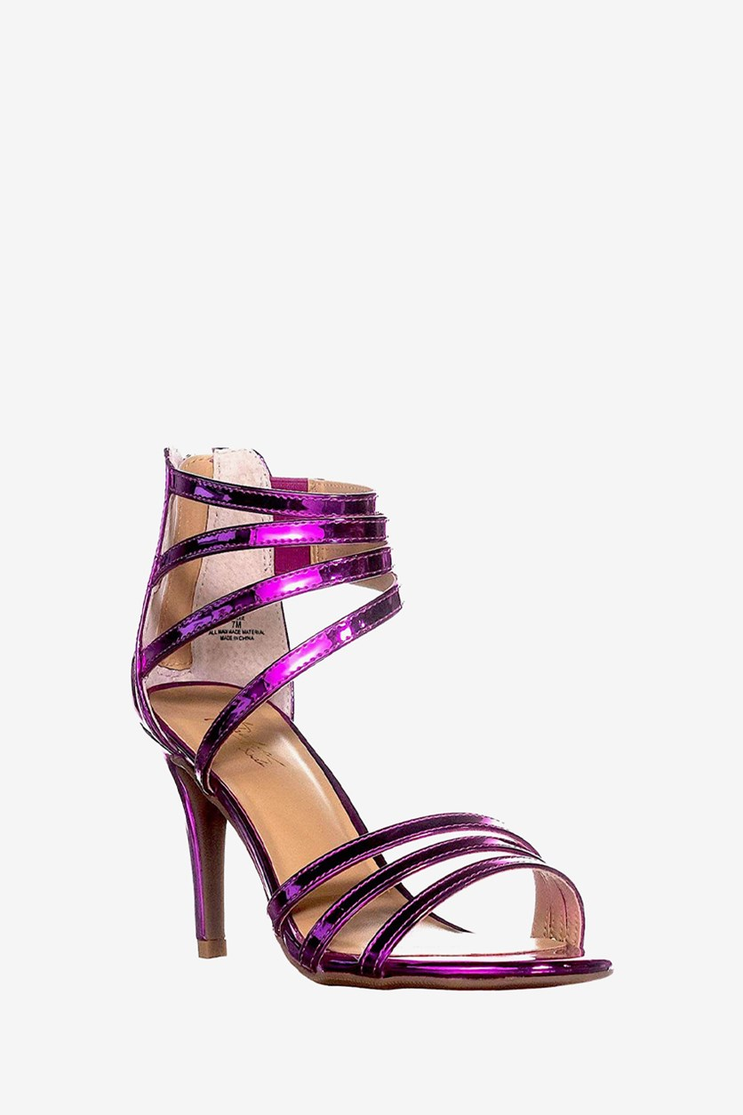 Womens Karlee Patent Leather Strappy Heels, Fuchsia