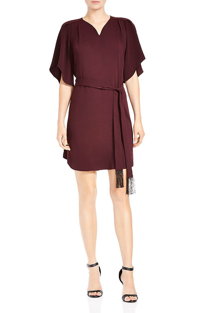 Women's Belted Flutter-Sleeve Crepe Dress, Syrah