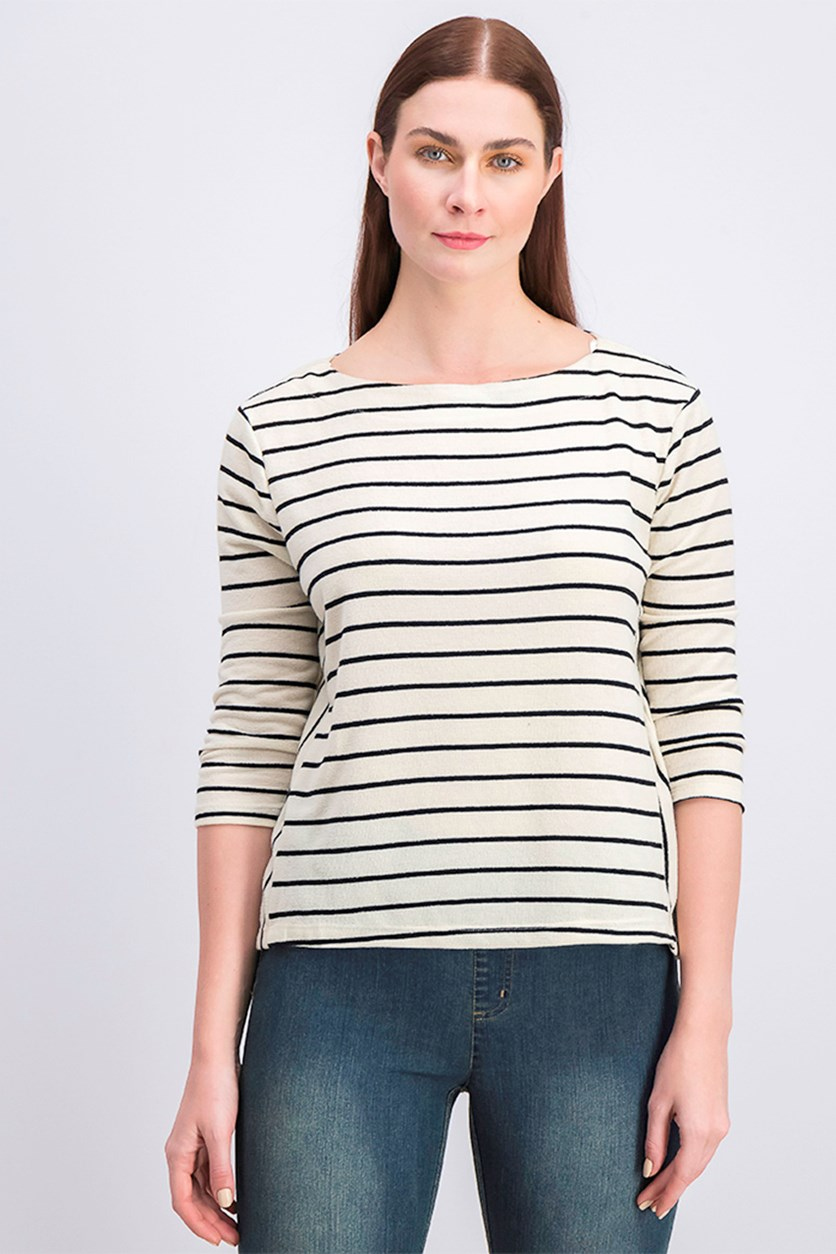 Women's Striped Knitted Top, Black/Beige