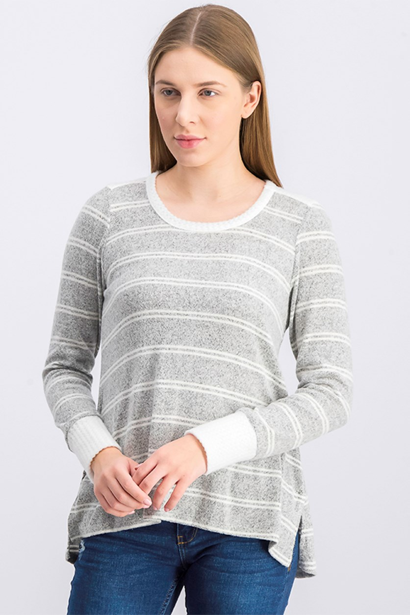 Women's High-Low Hem Striped Sweater, Gray/White