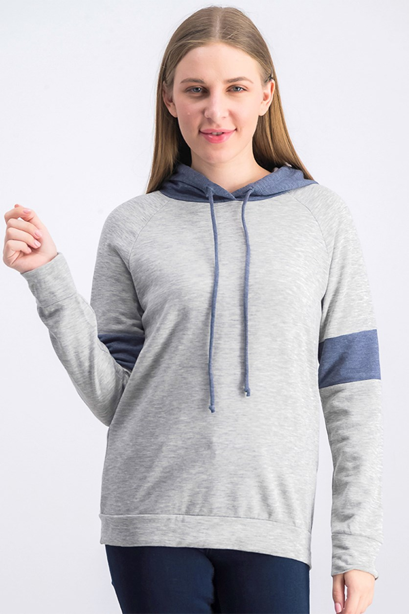 Women's Long Sleeve Hoodie Jacket, Grey