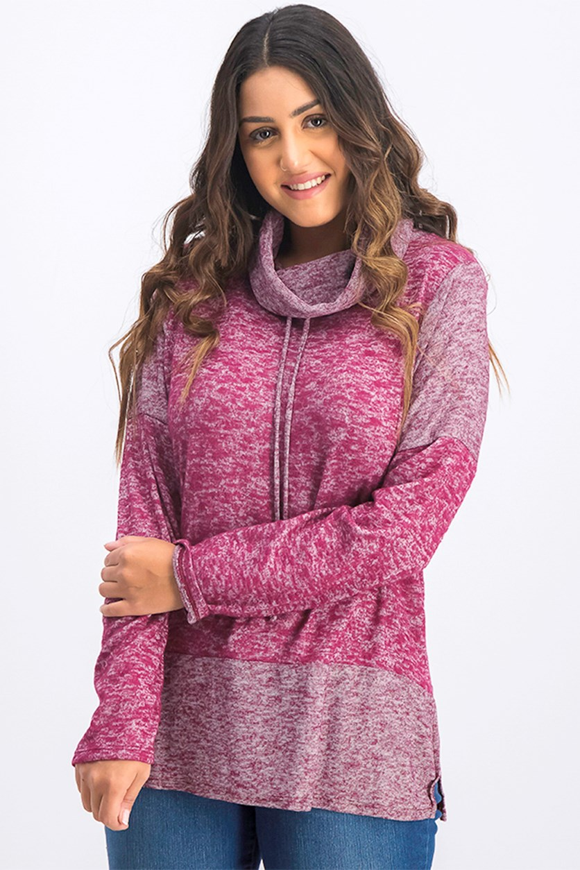 Women's Turtle Neck Sweatshirt, Purple
