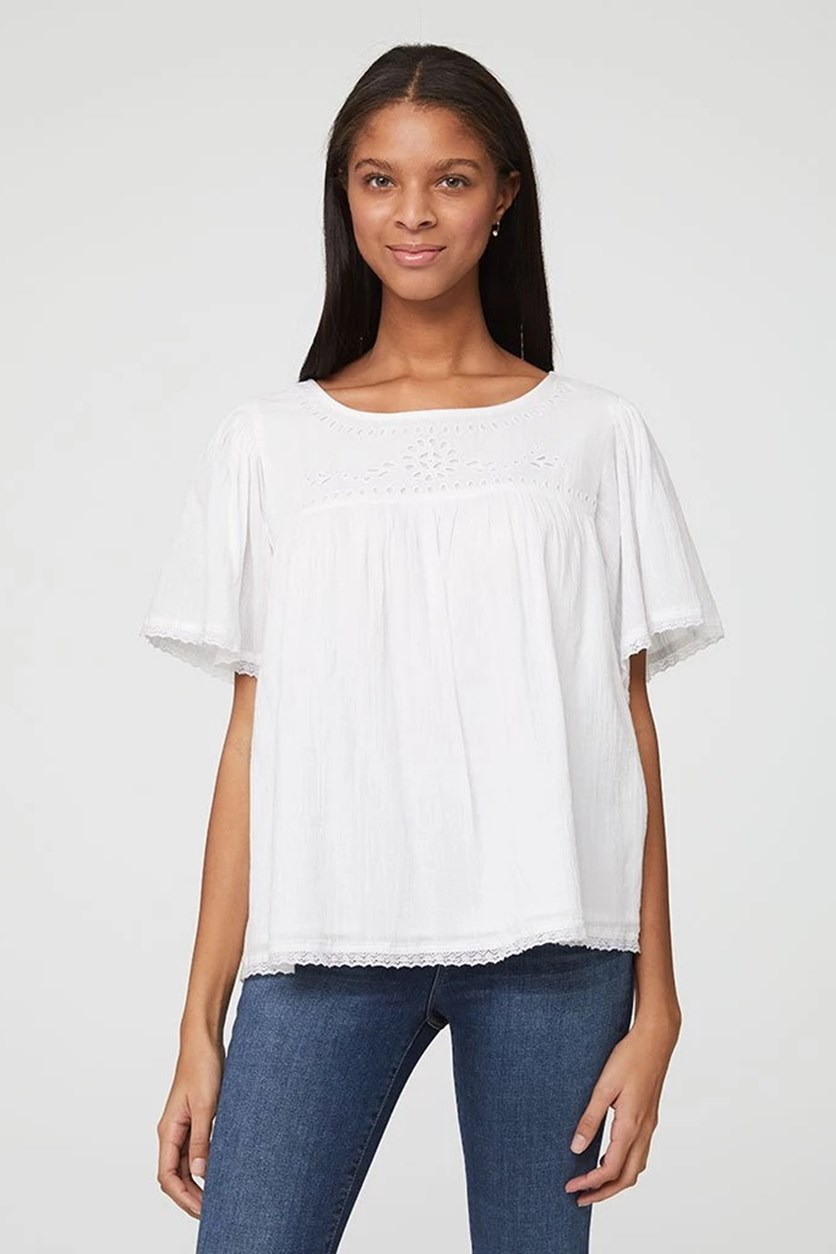 Women's Short Sleeve Blouse, White