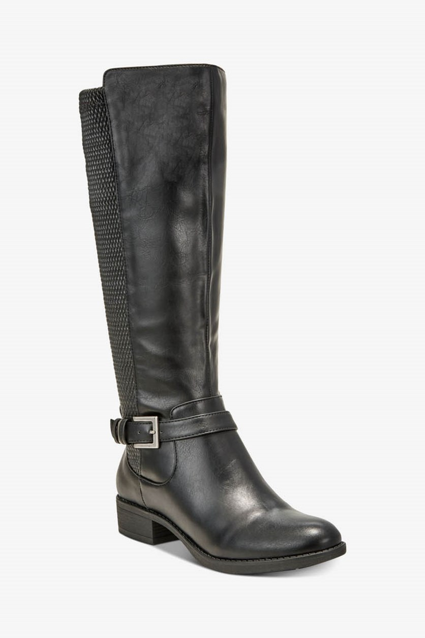 Women's Luciaa Flat Riding Boots, Black