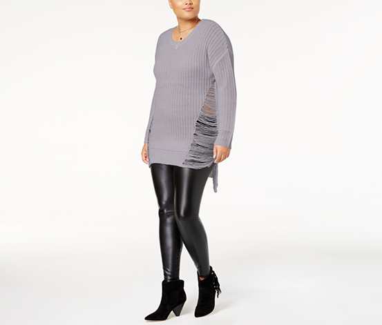 Planet Gold Trendy Plus Size Ripped High-Low Sweater, Minimal Grey