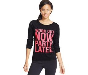 Material Girl Women's Work Out Graphic T-Back Top, Black