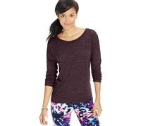 Material Girl Active Long-Sleeve Mesh-Back Top, Sweet Fig