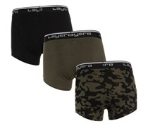 Layer 8 Men's 3 Pack Tagless Boxers Trunks, Olive/Black