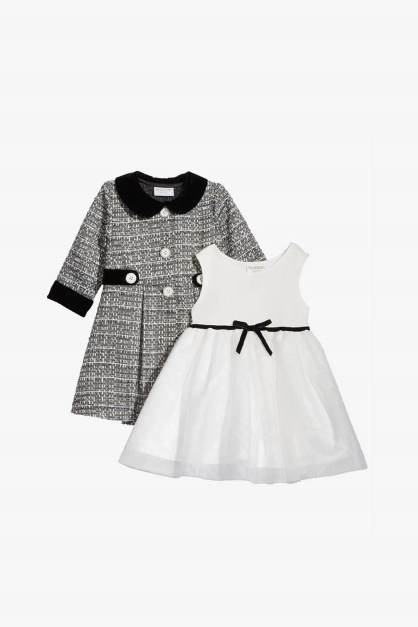 Baby Girls 2-Pieces Tweed Coat & Party Dress, Black/White