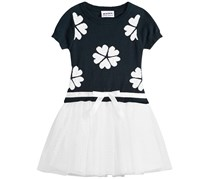 Blueberi Little Girls Sweater Dot-Mesh Dress, Navy