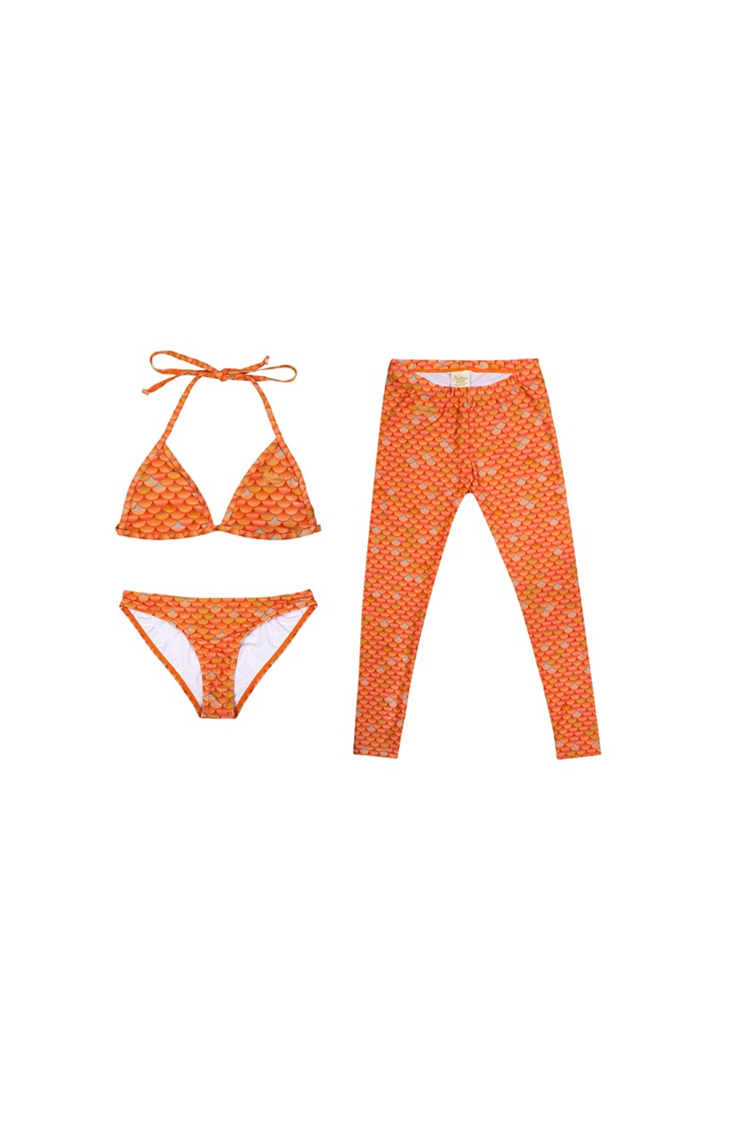 Kids MerSwim Swim Set Leggings Bikini Top And Bikini Bottom, Coral