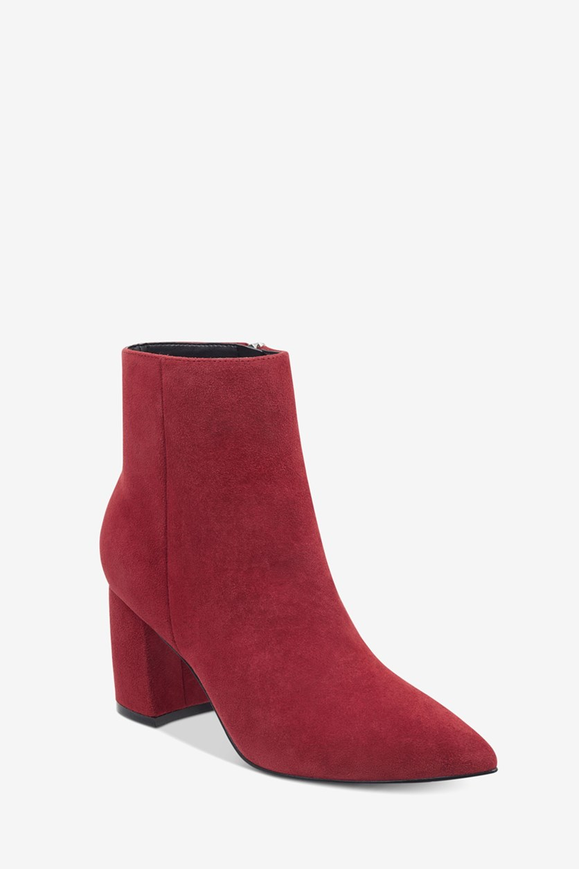 Womens Retire Suede Pointed Toe Booties, Red Suede