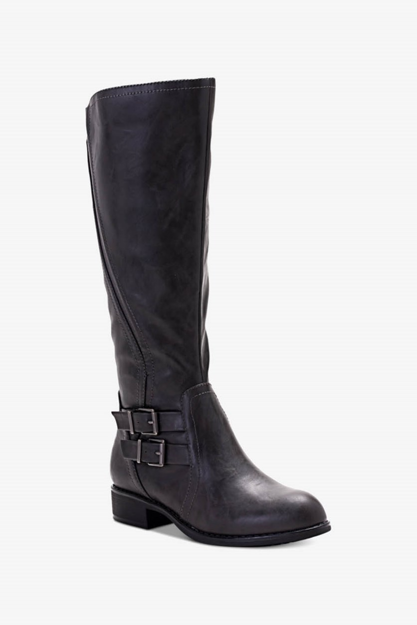 Women's Milah Almond Toe Knee High Fashion Boots, Charcoal