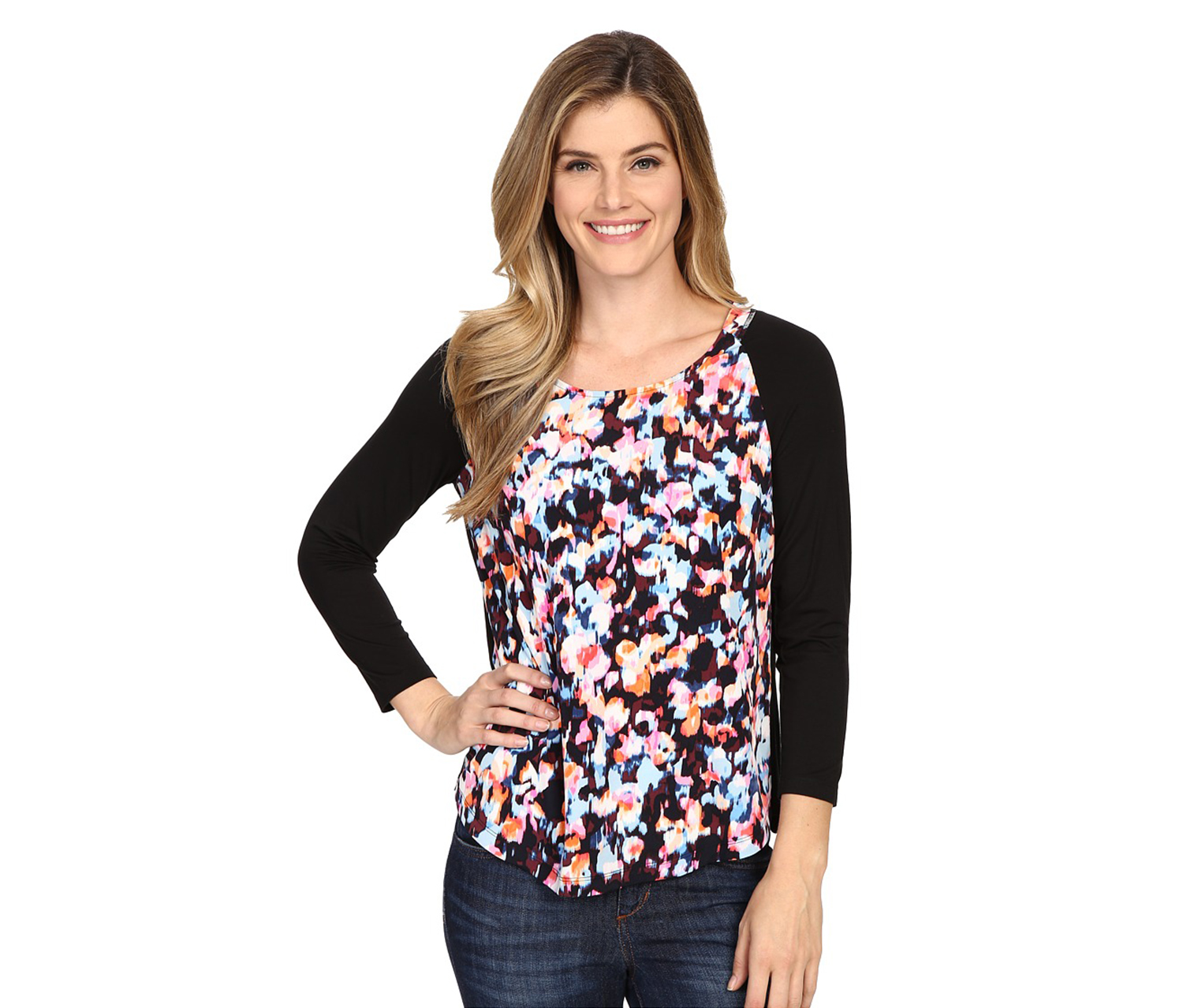 NYDJ Women's Print Front Mixed Media Top, Black/Blue/Pink