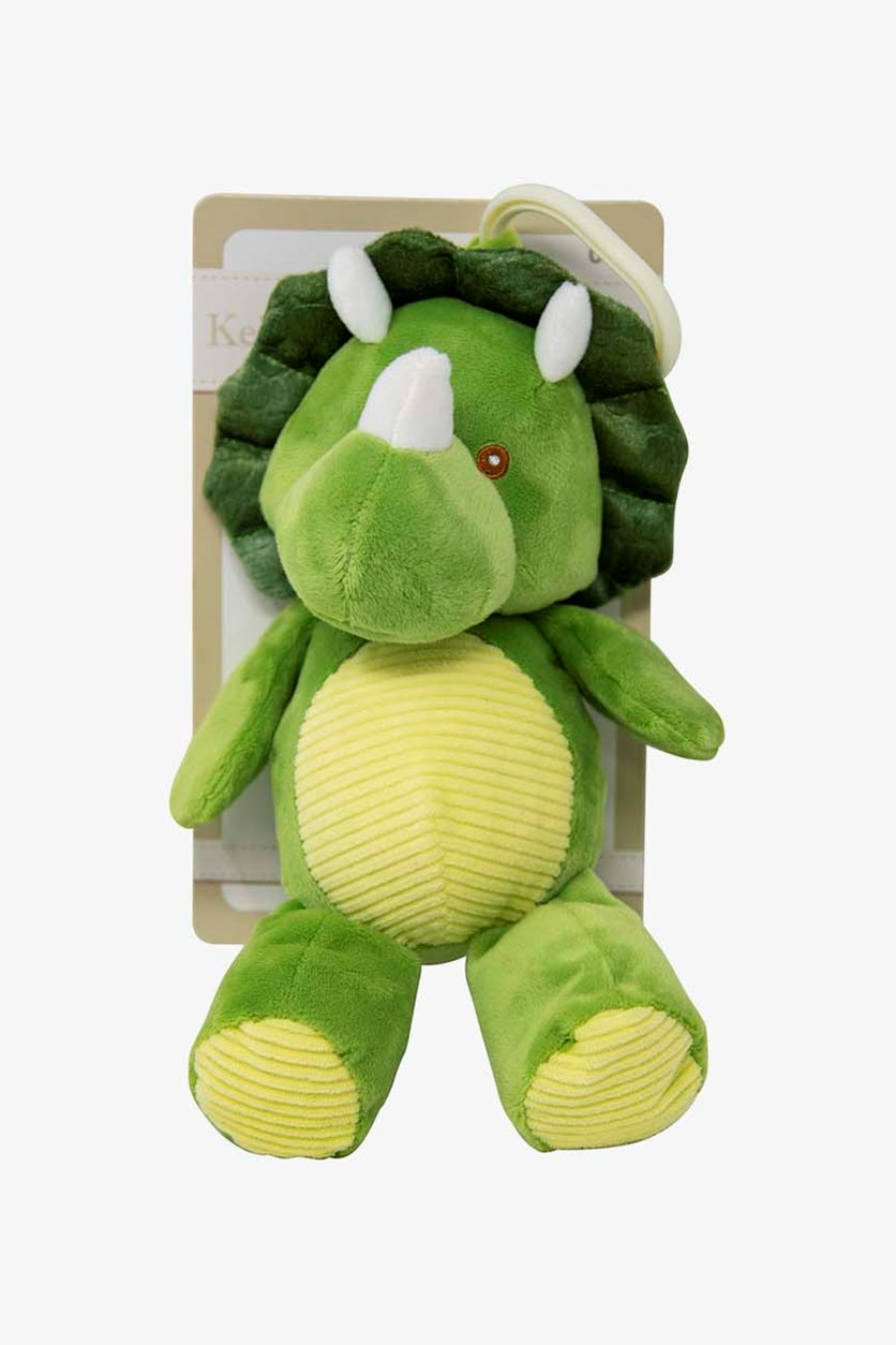 Dinosaur Stroller Clip-on Baby Rattle Plush Toy, Green/Yellow