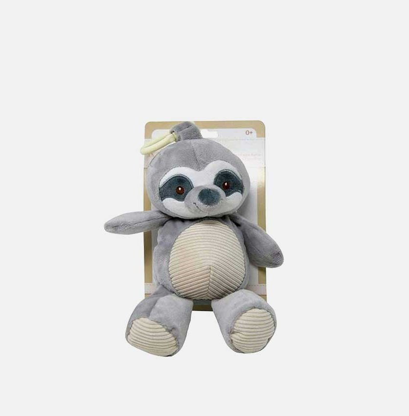Plush Animal with Rattle Clip-On Pram Toy, Gray