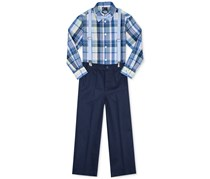 Nautica Little Boy's 4-Pc. Madras Plaid Shirt, Pants, Bowtie & Suspenders Set, Blue