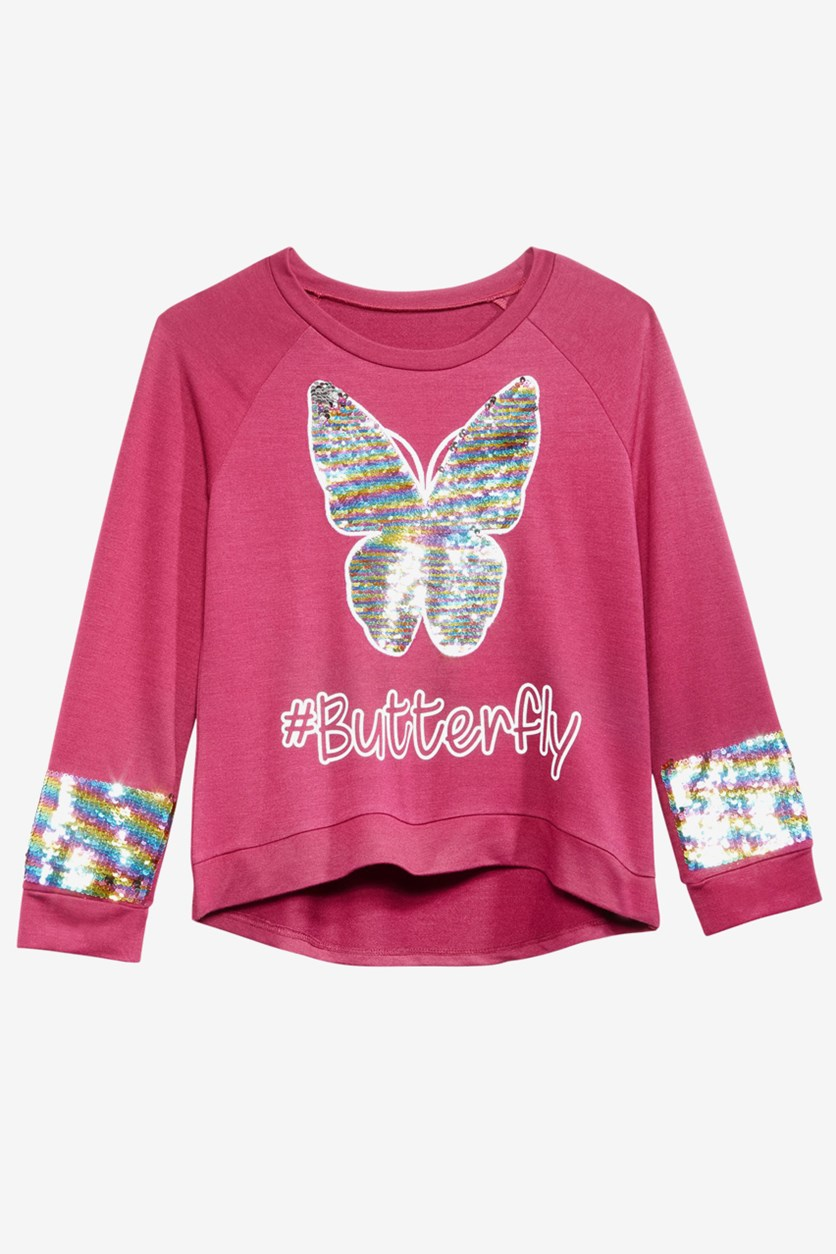 Big Girls Butterfly Reversible Sequin Sweatshirt, Burgundy