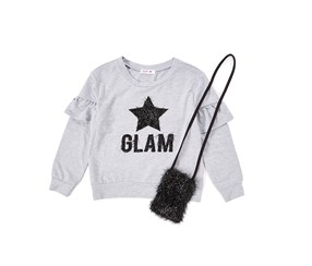 Beautees Girl's Glam Top With Phone Pouch, Gray