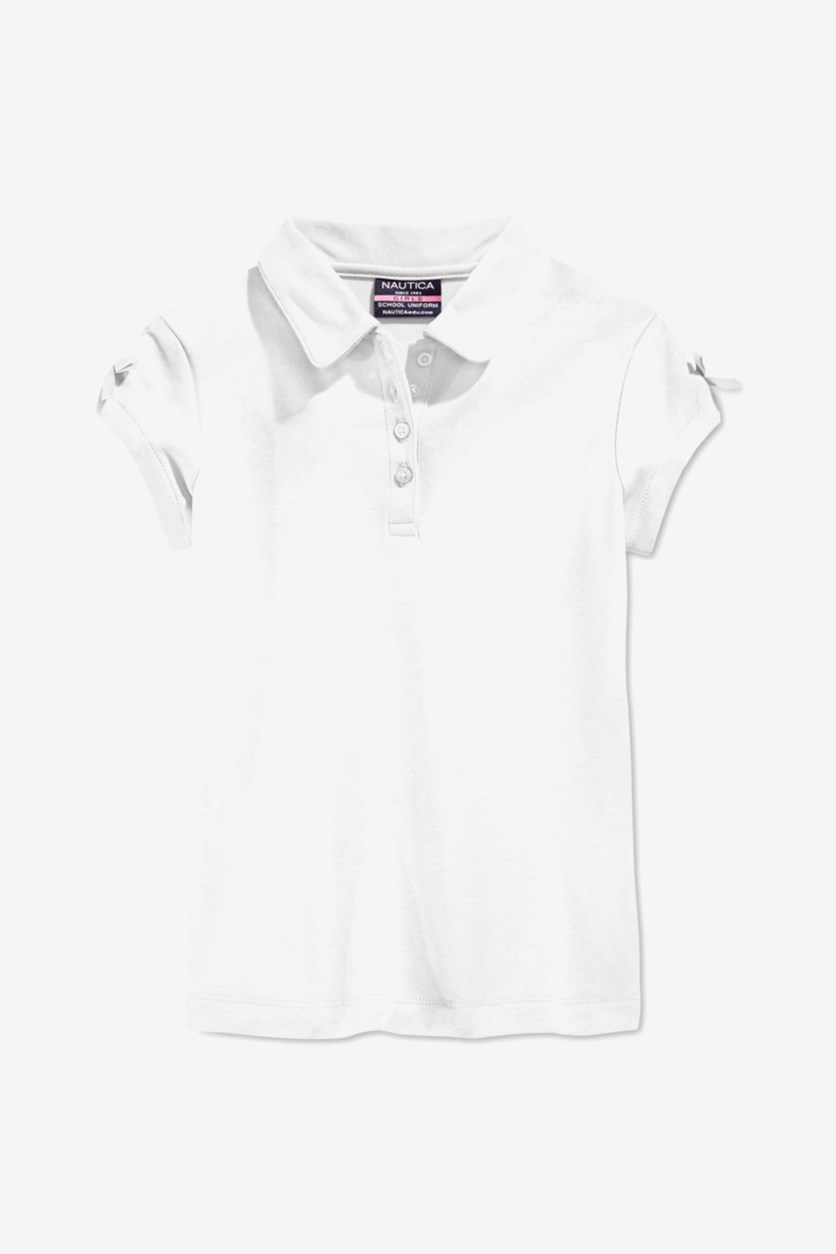 Girls' Bow Sleeve Polo Shirt, White