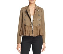 Free People Ruffle-Detail Military Jacket, Olive