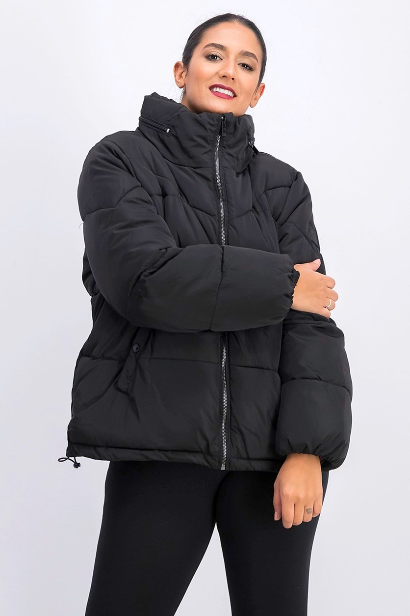 Women's Puffer Quilted With Pack Hood, Black
