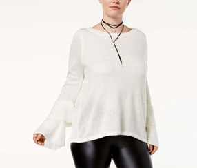Almost Famous Trendy Plus Size Tiered Bell-Sweater, Ivory