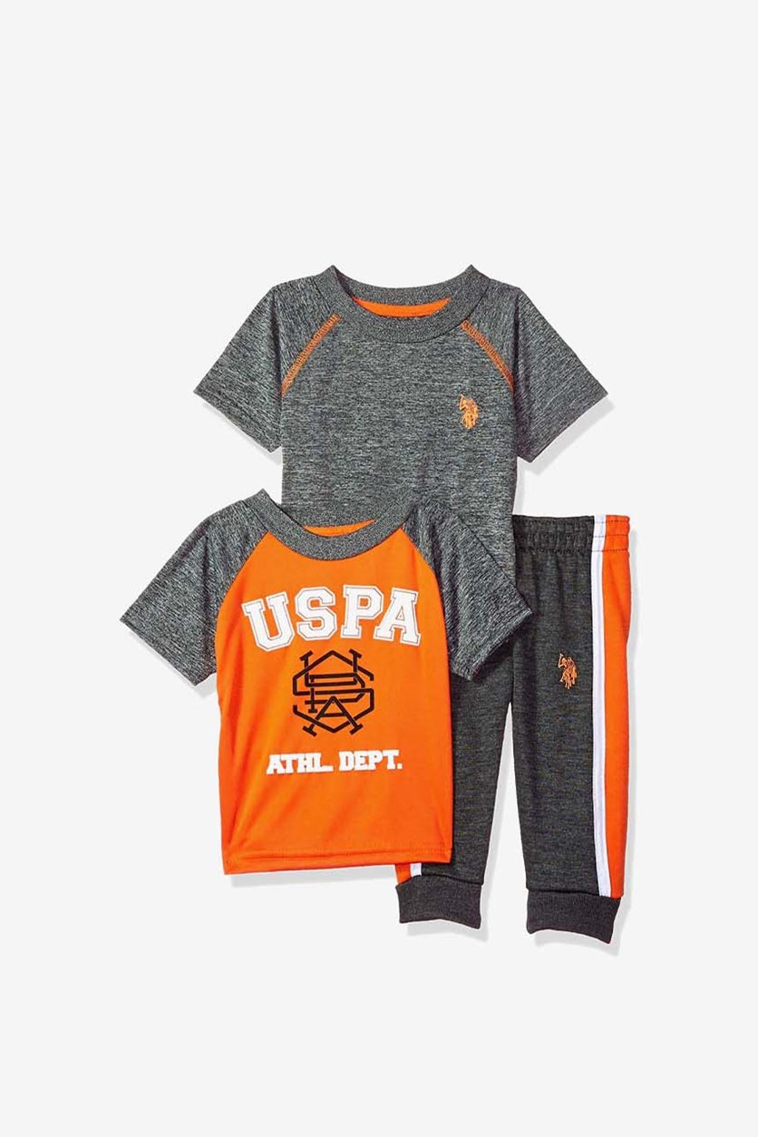 3 Pieces Baby Boys T-shirt and Pant Set, Athletic Dept Orange, Grey